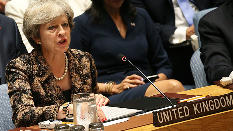 Theresa May takes swipe at Trump's climate stance in United Nations speech