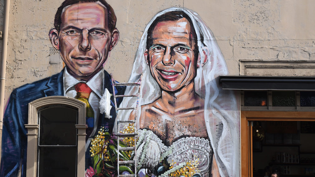 Tony Abbott allegedly assaulted by same-sex marriage campaigner in Hobart