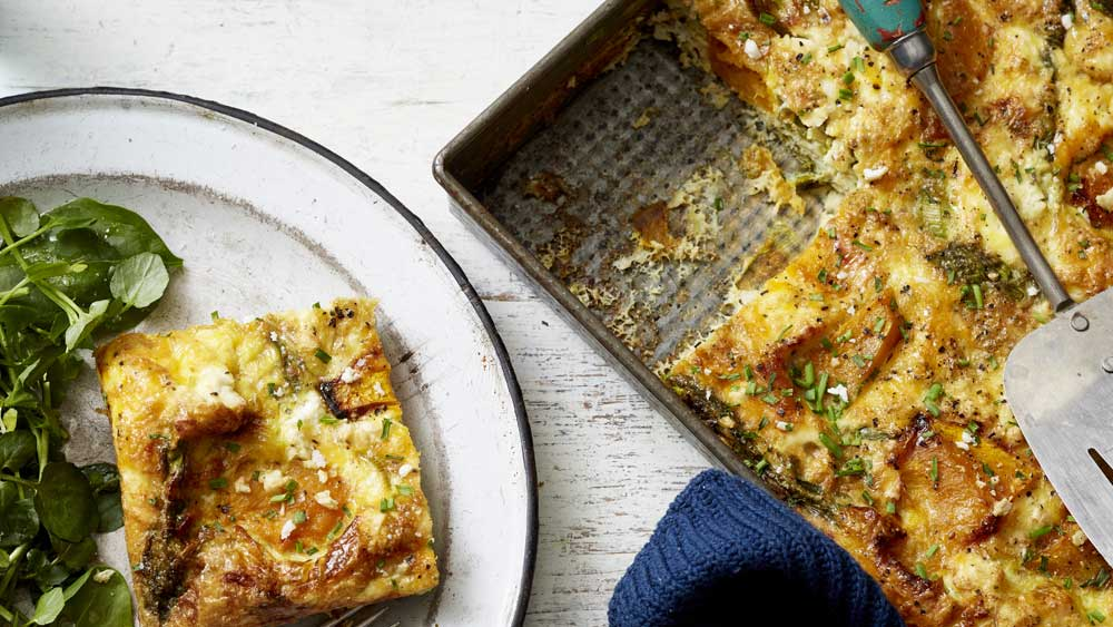 Scott Gooding's easy pumpkin, asparagus and goat's feta frittata recipe