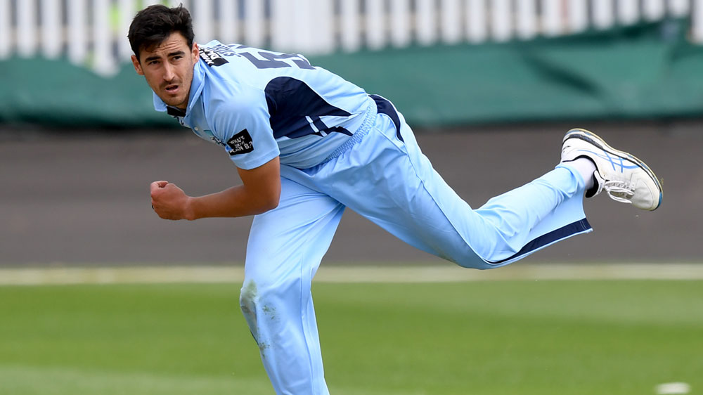 Mitchell Starc bowling against South Australia during the One Day Cup.(AAP)