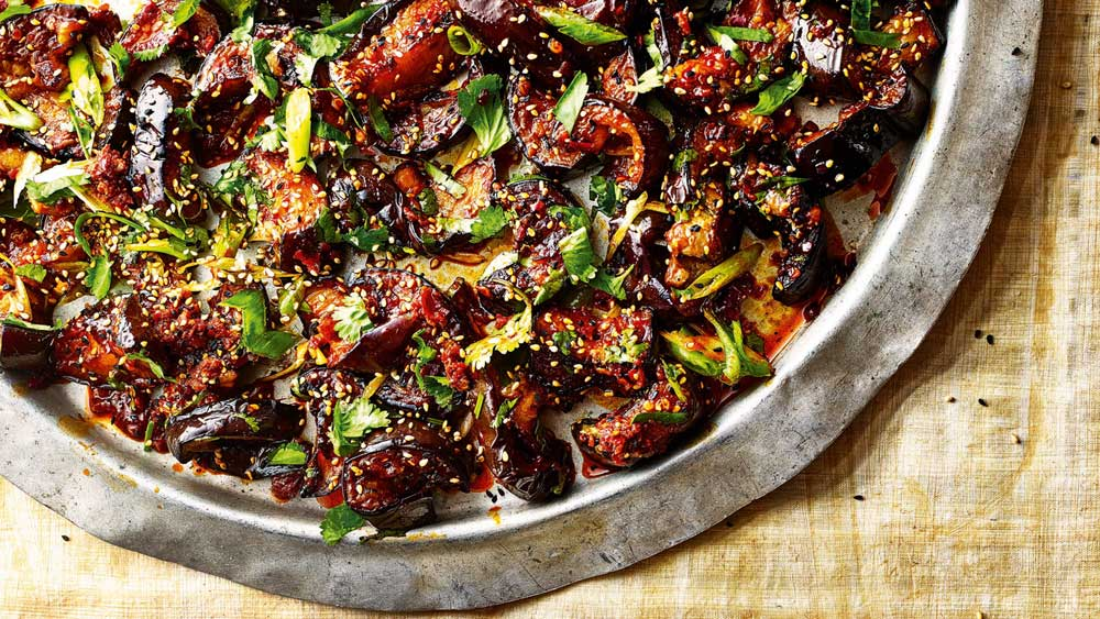 Sticky, spicy eggplant with toasted sesame seeds and spring onions by Sabrina Ghayour