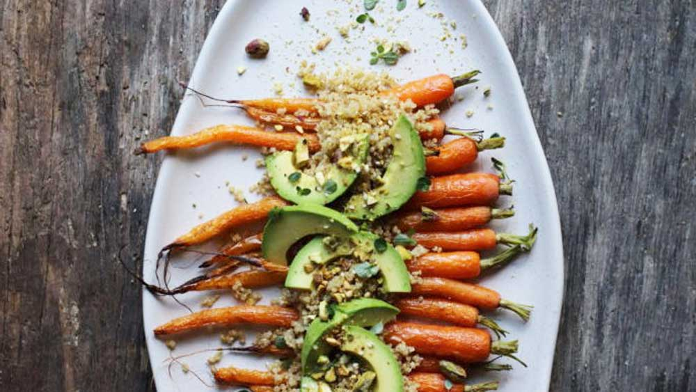 Roast carrot and fermented black garlic dukkah sprouted quinoa