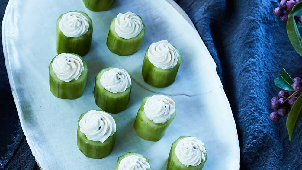 Mark Best's sous vide cucumber with cream cheese and miso bites