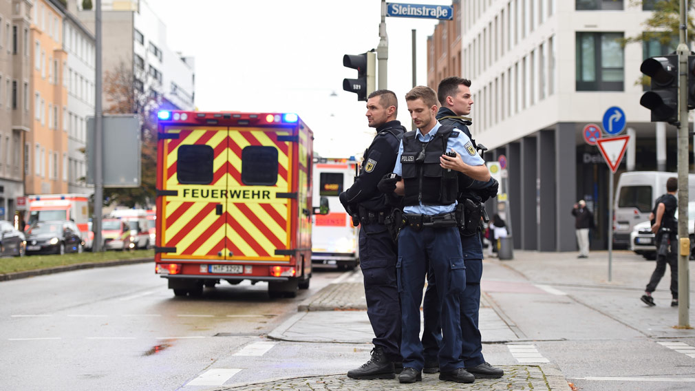 Police guard the area at Rosenheimer Platz square in Munich, Germany on October 21. (AP)