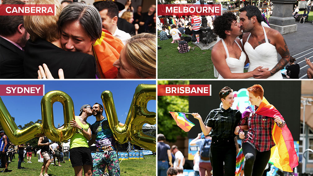 Marriage equality: Love is in the air as Australia votes 'Yes'