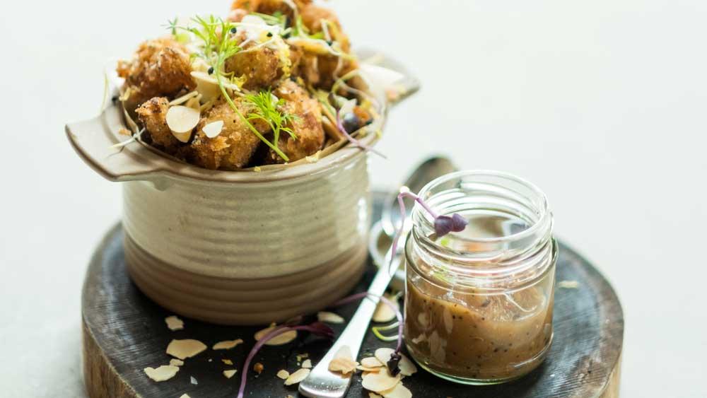 "Recipe: <a href=""https://kitchen.nine.com.au/2017/05/05/12/01/acres-cauliflower-fritti-with-citrus-marmalade"" target=""_top"">Acre's cauliflower fritti with citrus marmalade</a>"