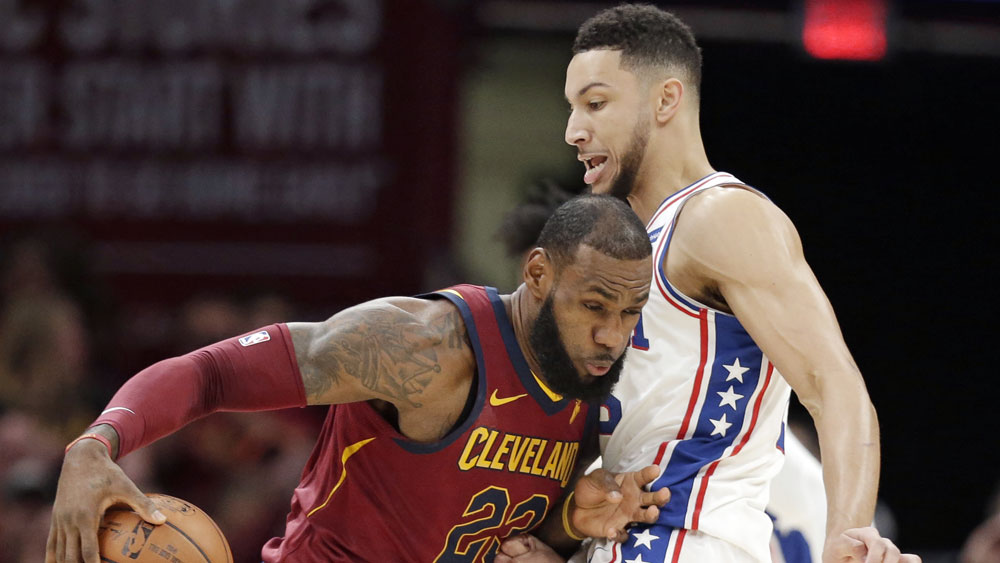 LeBron James and Ben Simmons. (AAP)