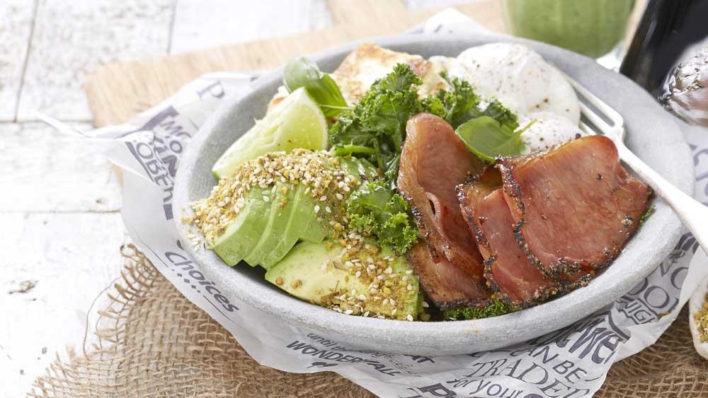 "Recipe: <a href=""https://kitchen.nine.com.au/2017/12/15/15/31/black-pepper-bacon-brekkie-bowl"" target=""_top"">Primo avocado bacon breakfast</a>"