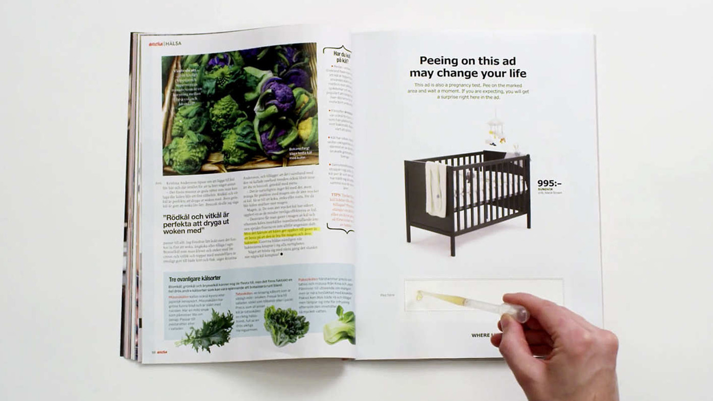Ikea offers free cribs to pregnant mums who pee on its ad