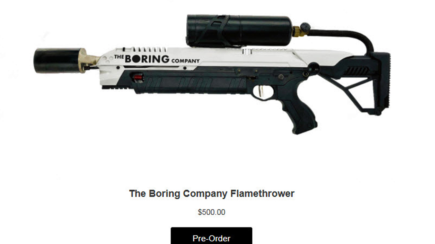 elon musk is selling flamethrowers to raise capital for. Black Bedroom Furniture Sets. Home Design Ideas