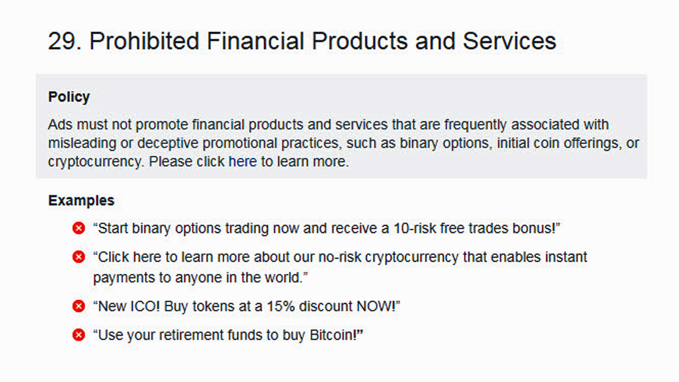 Facebook bans all ads for cryptocurrencies, ICOs and binary options