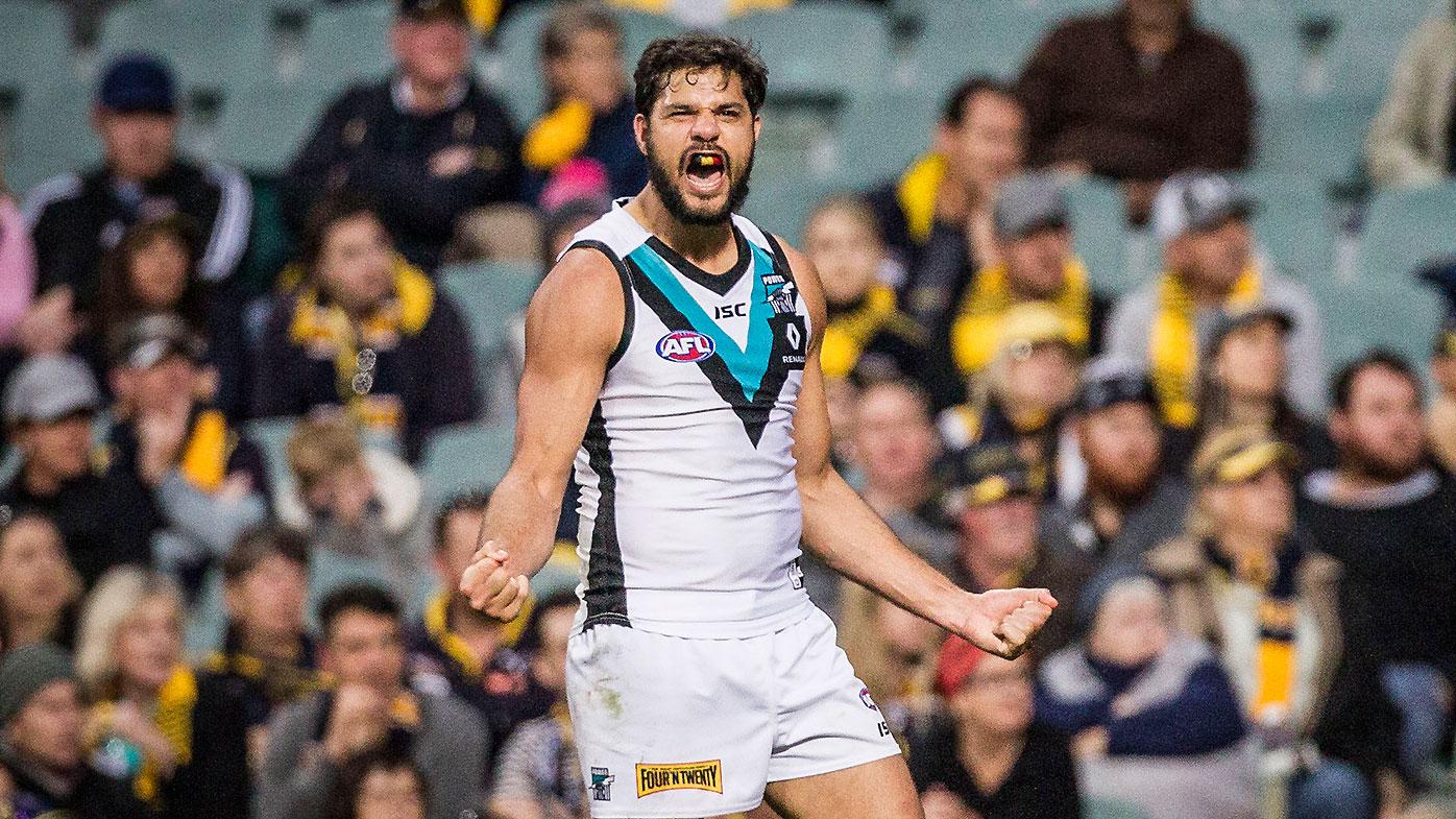 Paddy Ryder of Port Adelaide celebrates