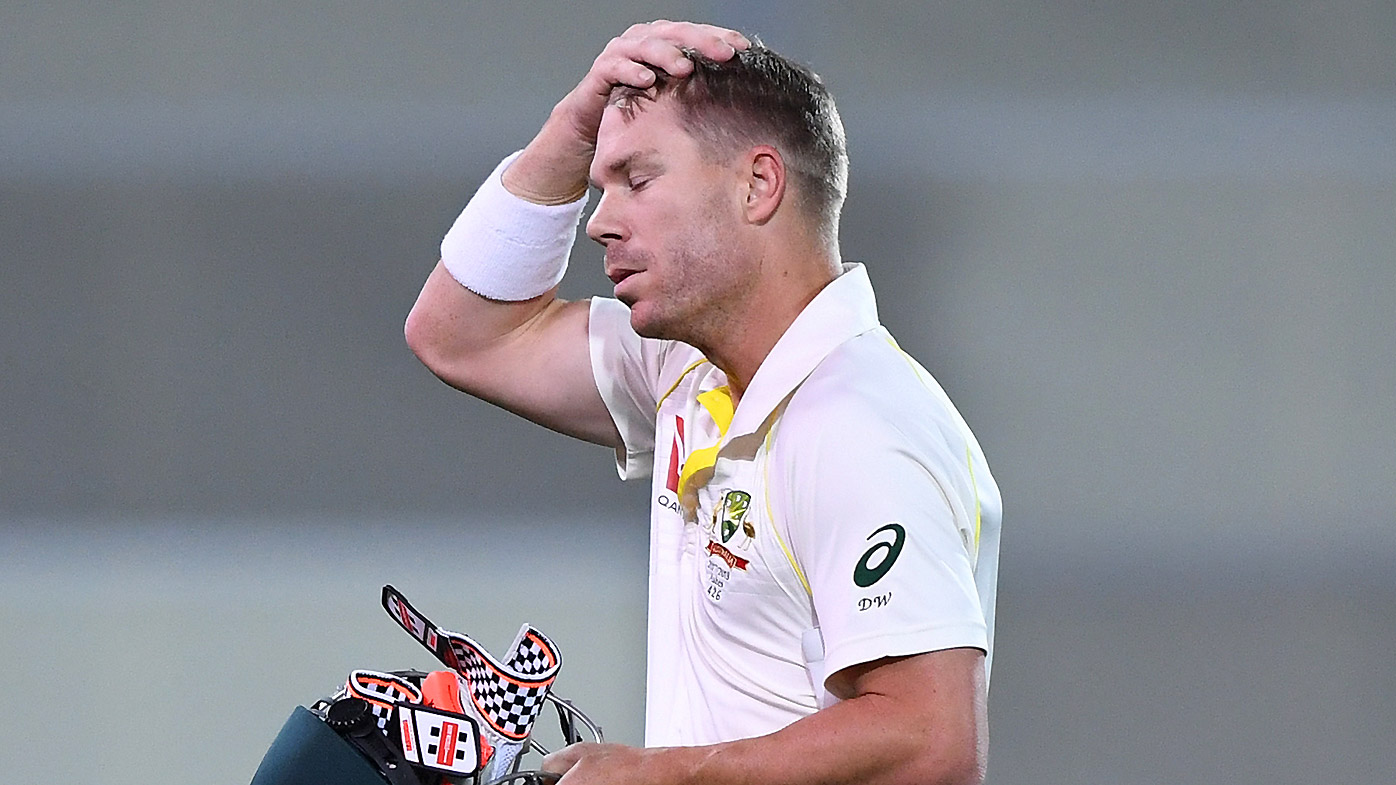 Australia's David Warner walks from the field after being given out