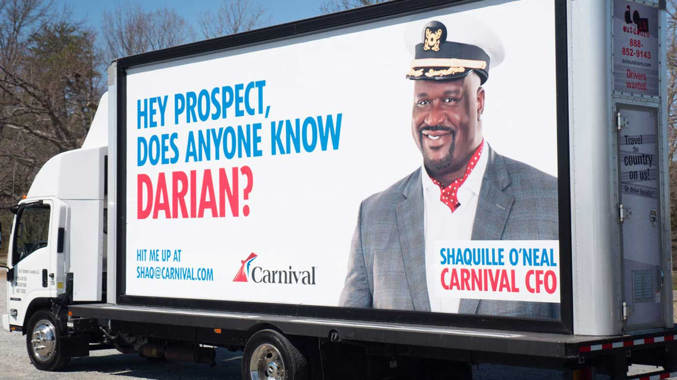 One of the billboards designed to track down Darian Lipscomb. (Carnival Cruise)