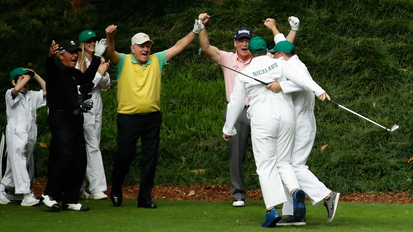 Jack Nicklaus' grandson and caddie GT Nicklaus reacts after his hole-in-one