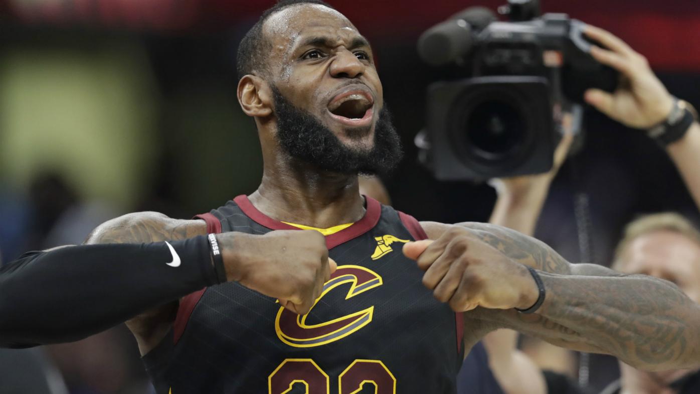 Cleveland Cavaliers' LeBron James celebrates