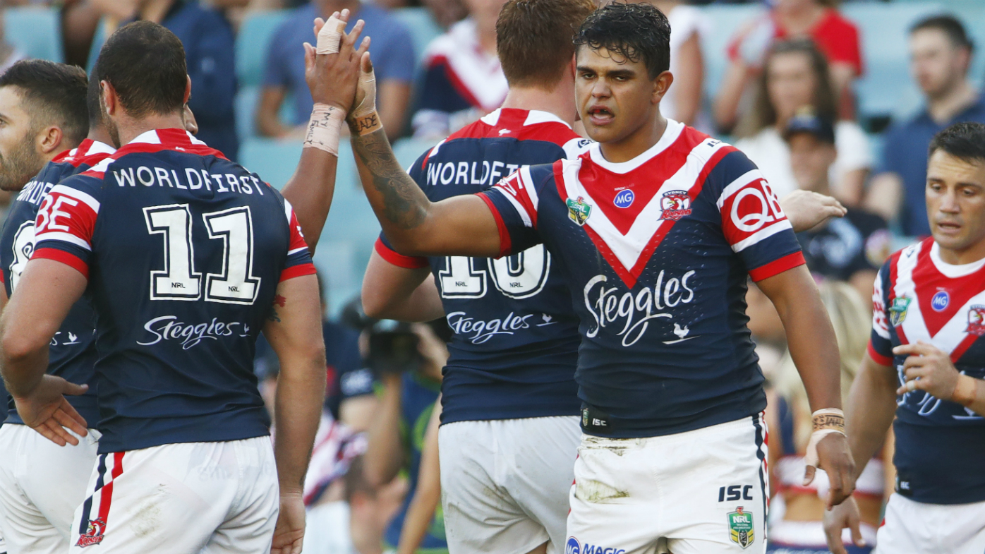 Latrell Mitchell of the Roosters reacts