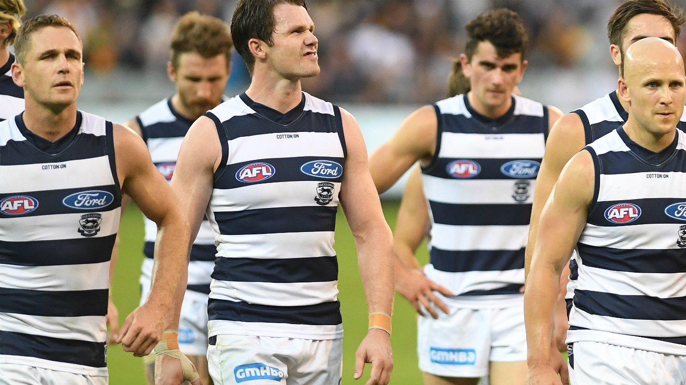 Joel Selwood, Patrick Dangerfield and Gary Ablett of the Cats