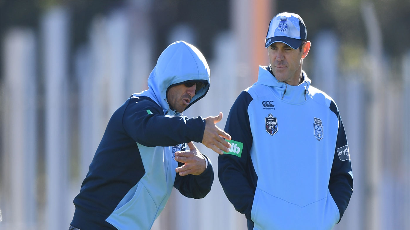 Andrew Johns works with Brad Fittler in NSW camp.