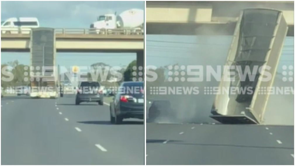 Jaw-dropping moment truck slams into bridge