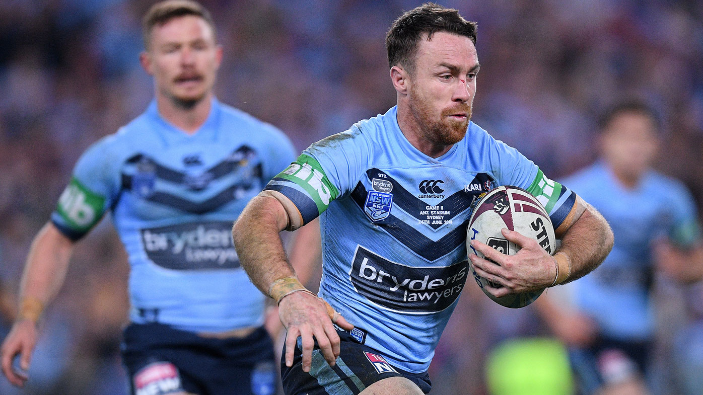 James Maloney runs the ball for the Blues.