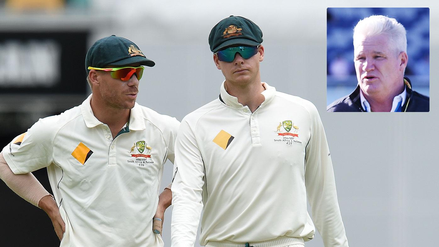 David Warner (left) and Steve Smith with former Australian batsman Dean Jones (inset)