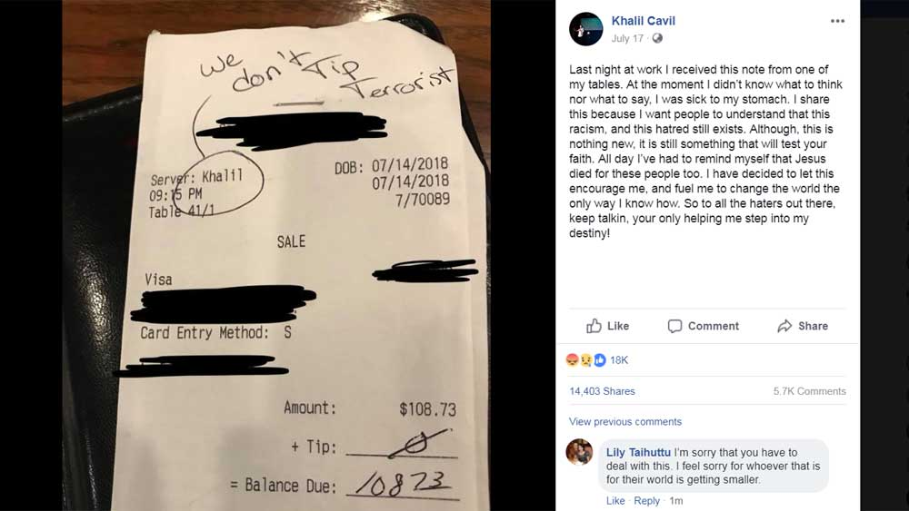 Internet is outraged by the racist customer who wouldn't tip his server
