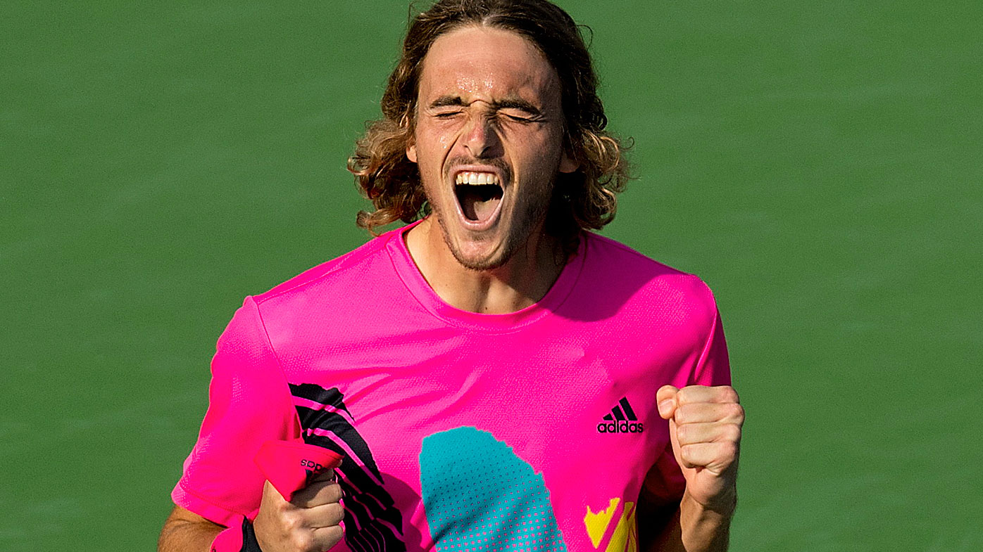 Stefanos Tsitsipas of Greece celebrates his win over Kevin Anderson