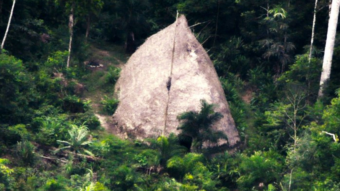 Isolated Amazonian tribe shown in drone photo