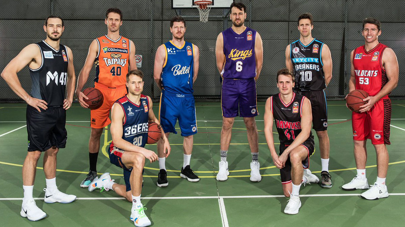 Chris Goulding of Melbourne United, Alexander Loughton of the Cairns Taipans, Nathan Sobey of the Adelaide 36ers, Cameron Gliddon of the Brisbane Bullets, Andrew Bogut of the Sydney Kings, Emmett Naar of the Illawarra Hawks, Thomas Abercrombie of the New Zealand Breakers and Damian Martin of the Perth Wildcats