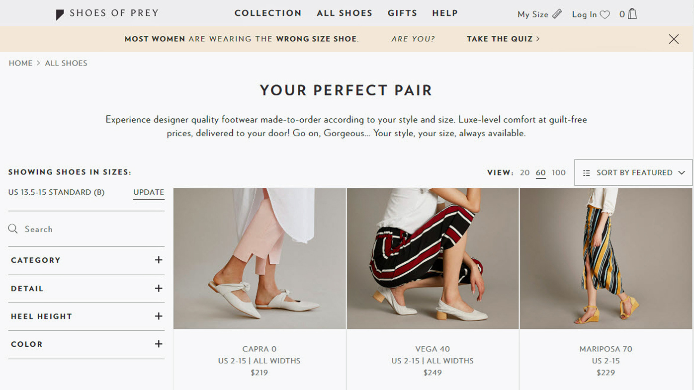 a market analysis for shoes of prey an online business Finance, startup news & analysis shoes of prey puts business on pause and halts orders as it assesses potential business sale  as well as all the latest business, tax, legal, marketing.
