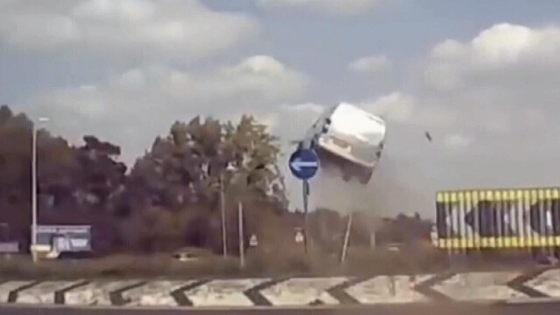 Van flies movie-stunt style in UK injuring three