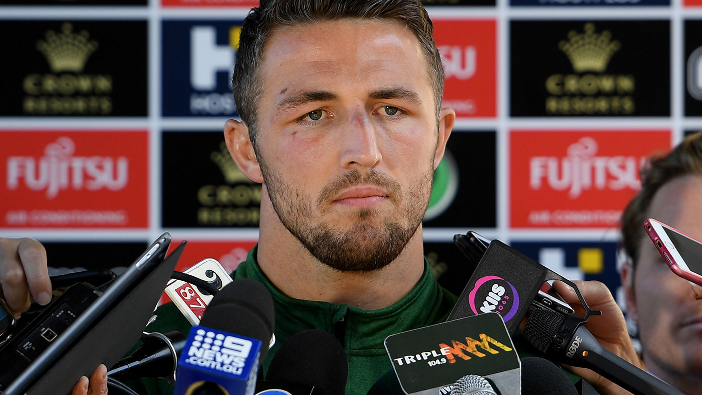 Sam Burgess fronts the media following the sexting scandal