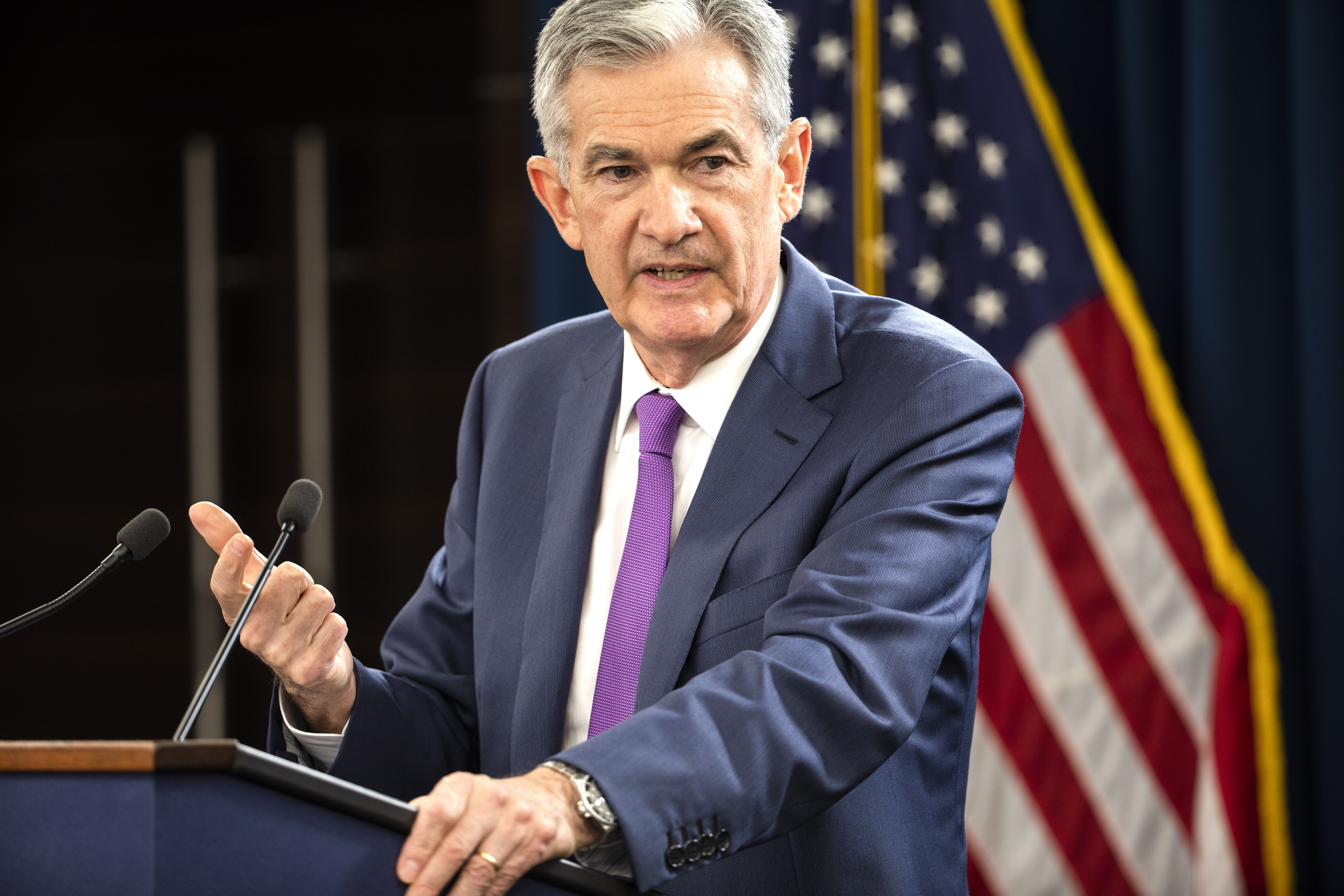 Federal Reserve Board Chairman Jerome Powell announces the Fed is raising interest rates