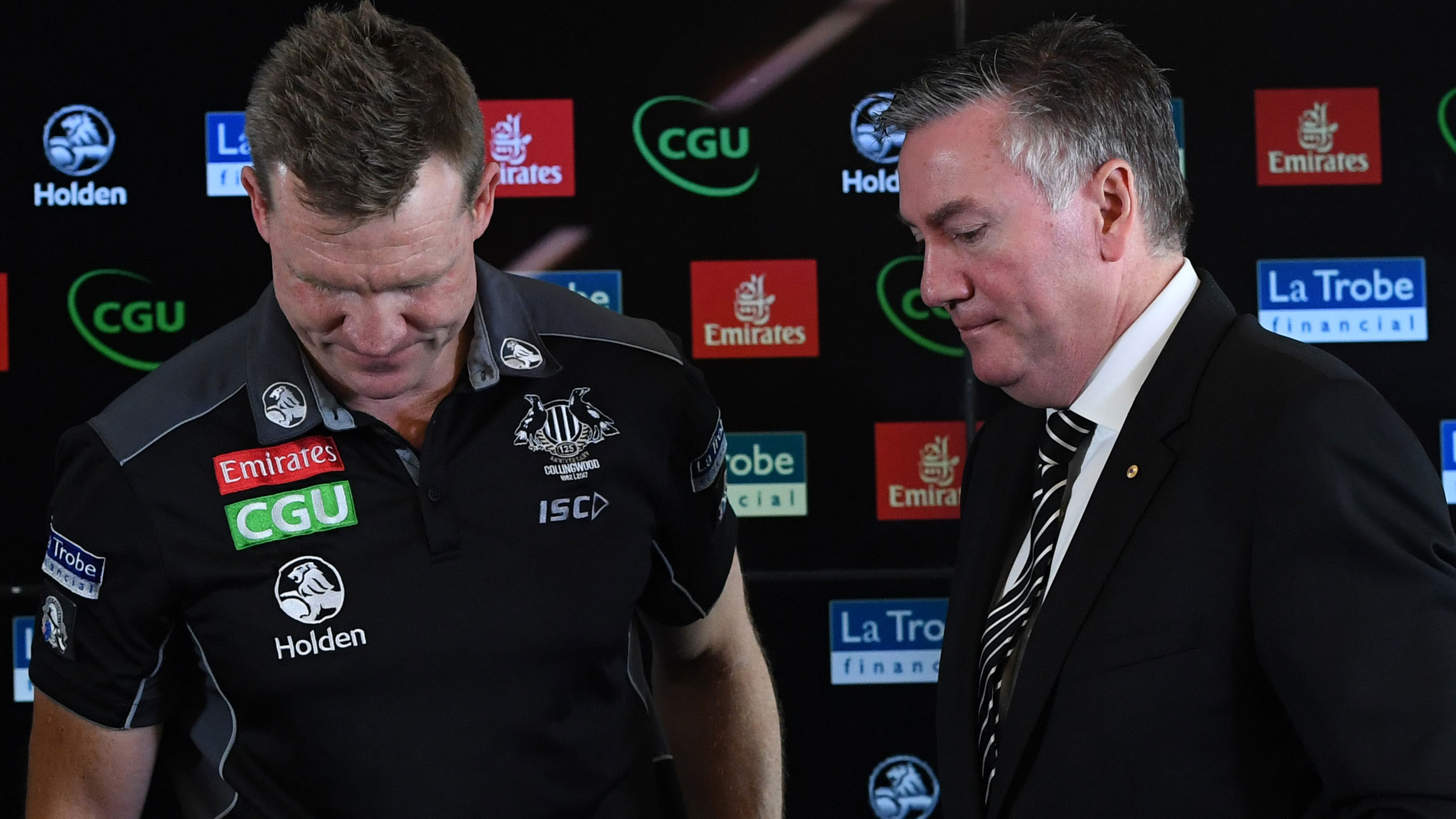 Collingwood coach Nathan Buckley and president Eddie McGuire.