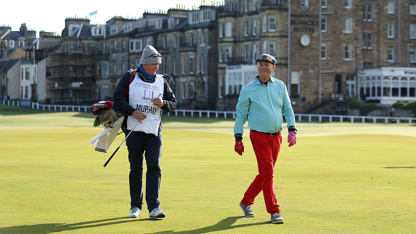 Bill Murray walks down the first during day one of the 2018 Alfred Dunhill Links Championship at The Old Course