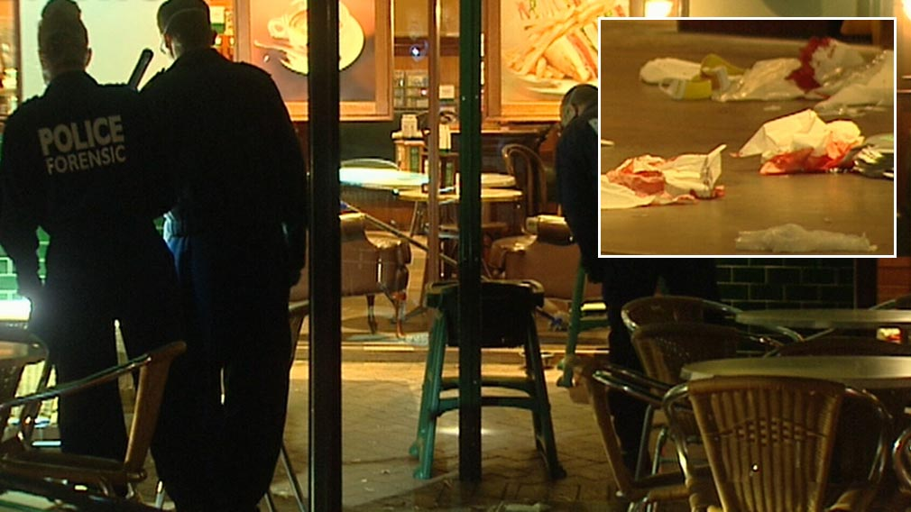 Stabbed mental health worker collapses in front of horrified diners