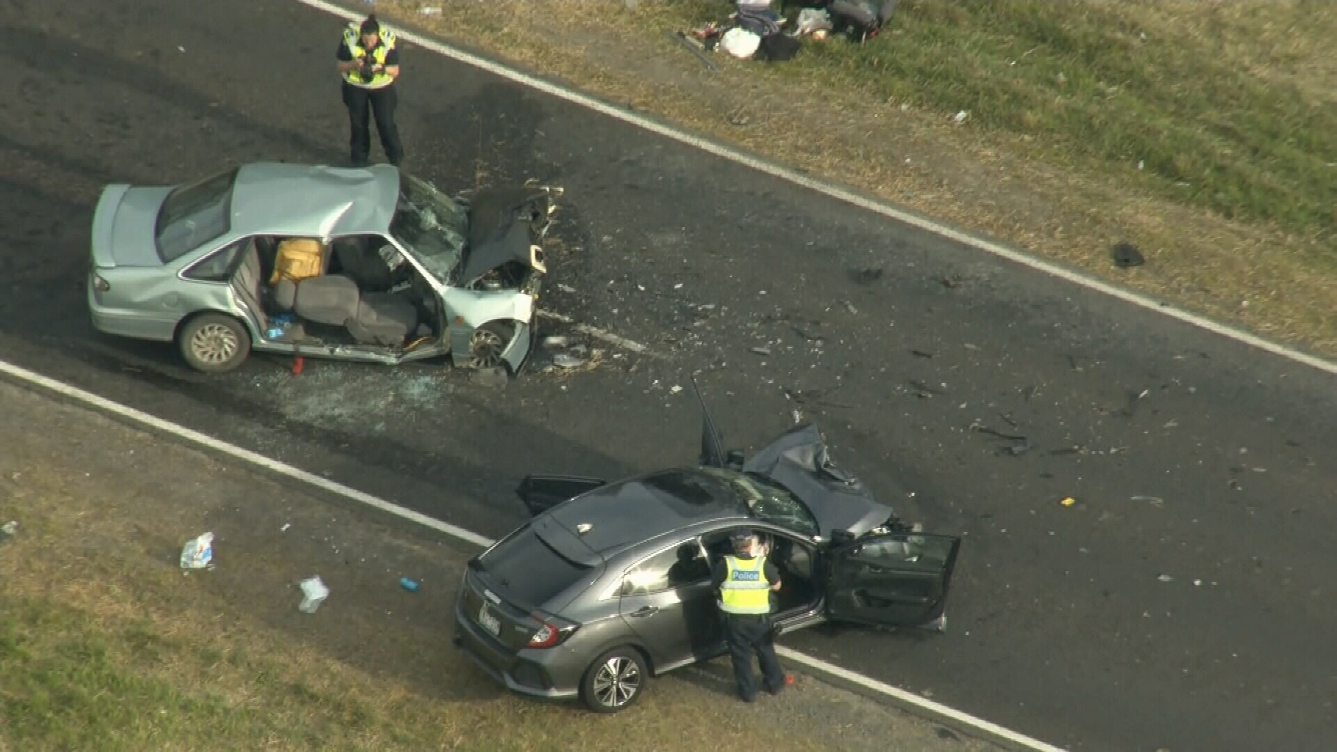 Girl, 7, dies and six injured after head-on Victoria crash