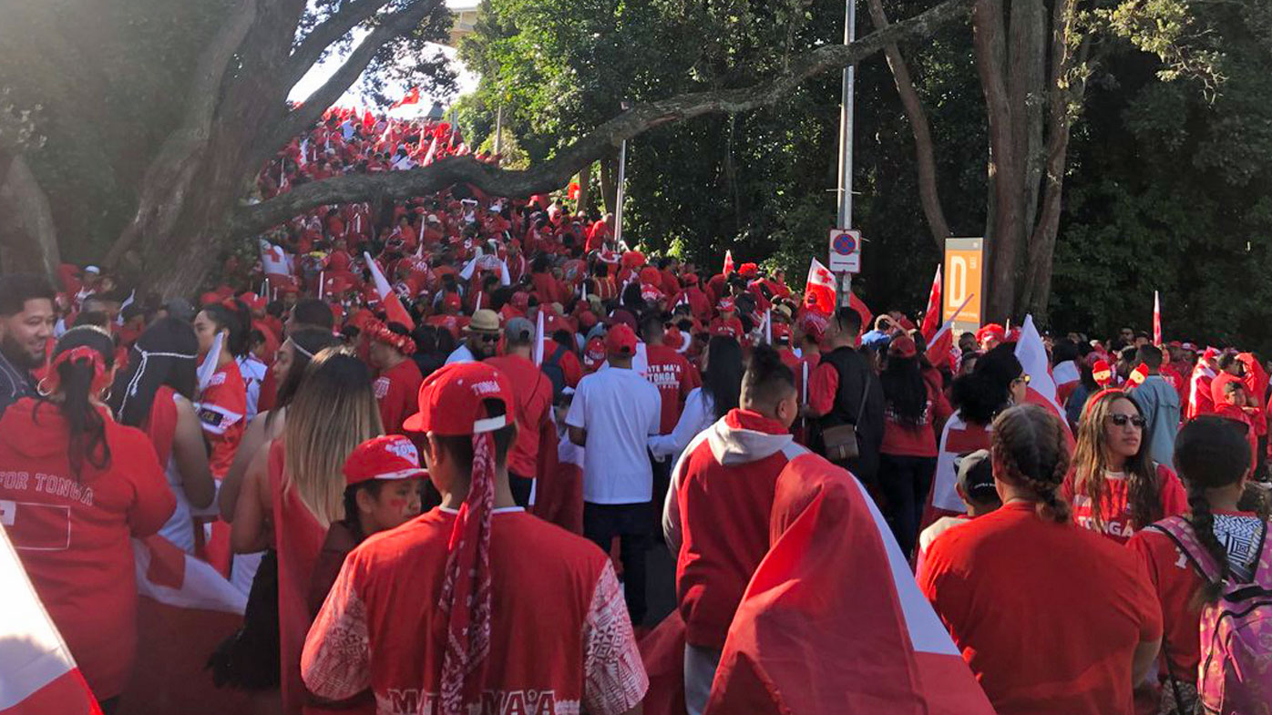 Tonga fans arrive at Mt Smart Stadium