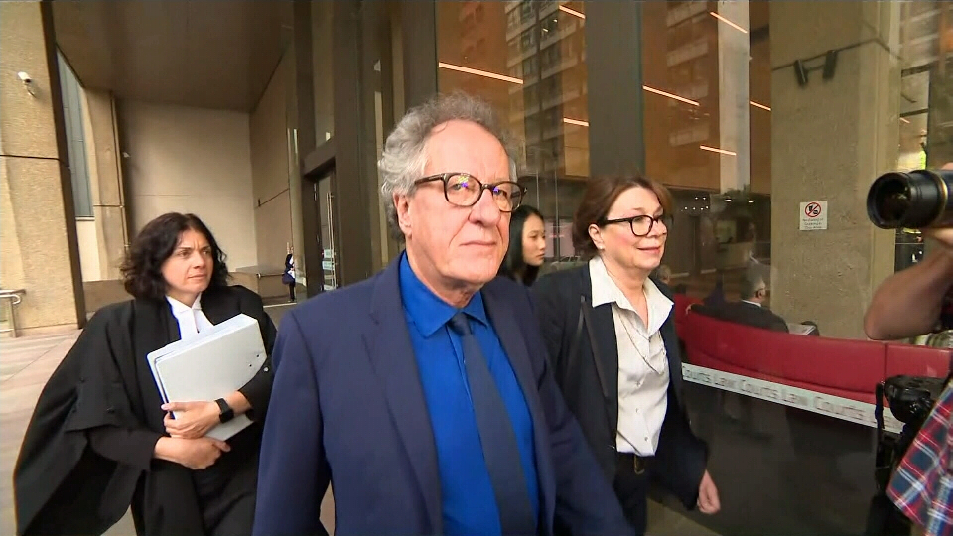 Geoffrey Rush arrives for defamation trial