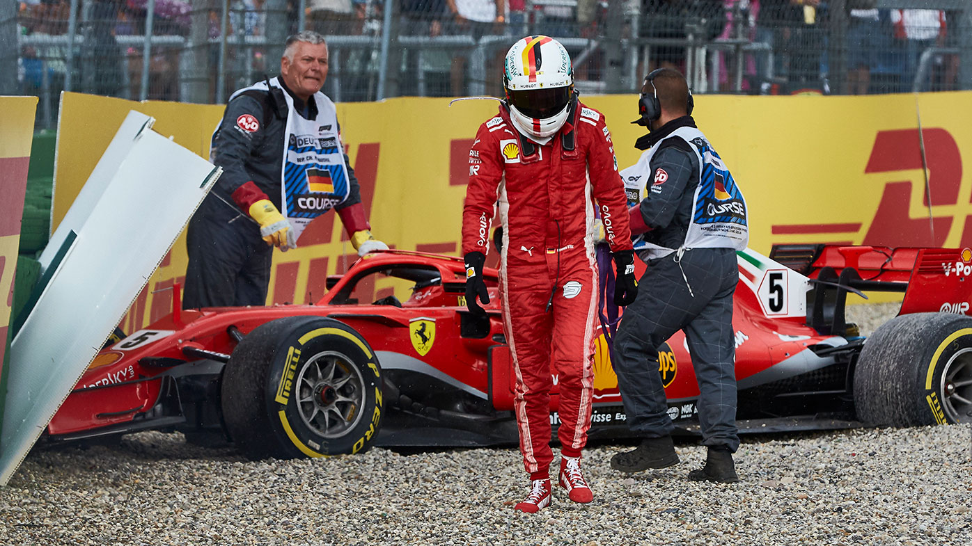 Sebastian Vettel crashes out of the German Grand Prix