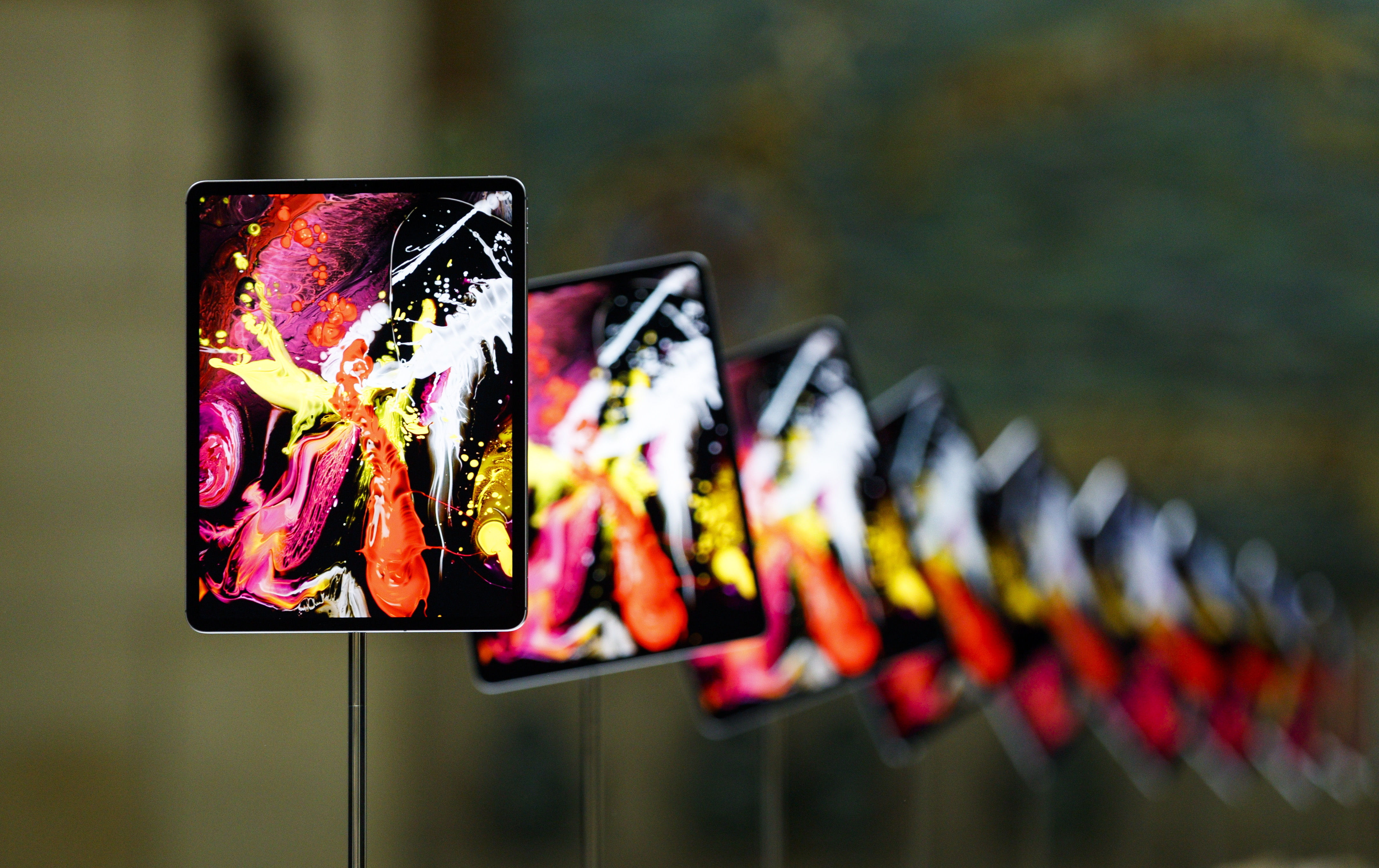 The new iPad Pro on display during an Apple hands-on event.