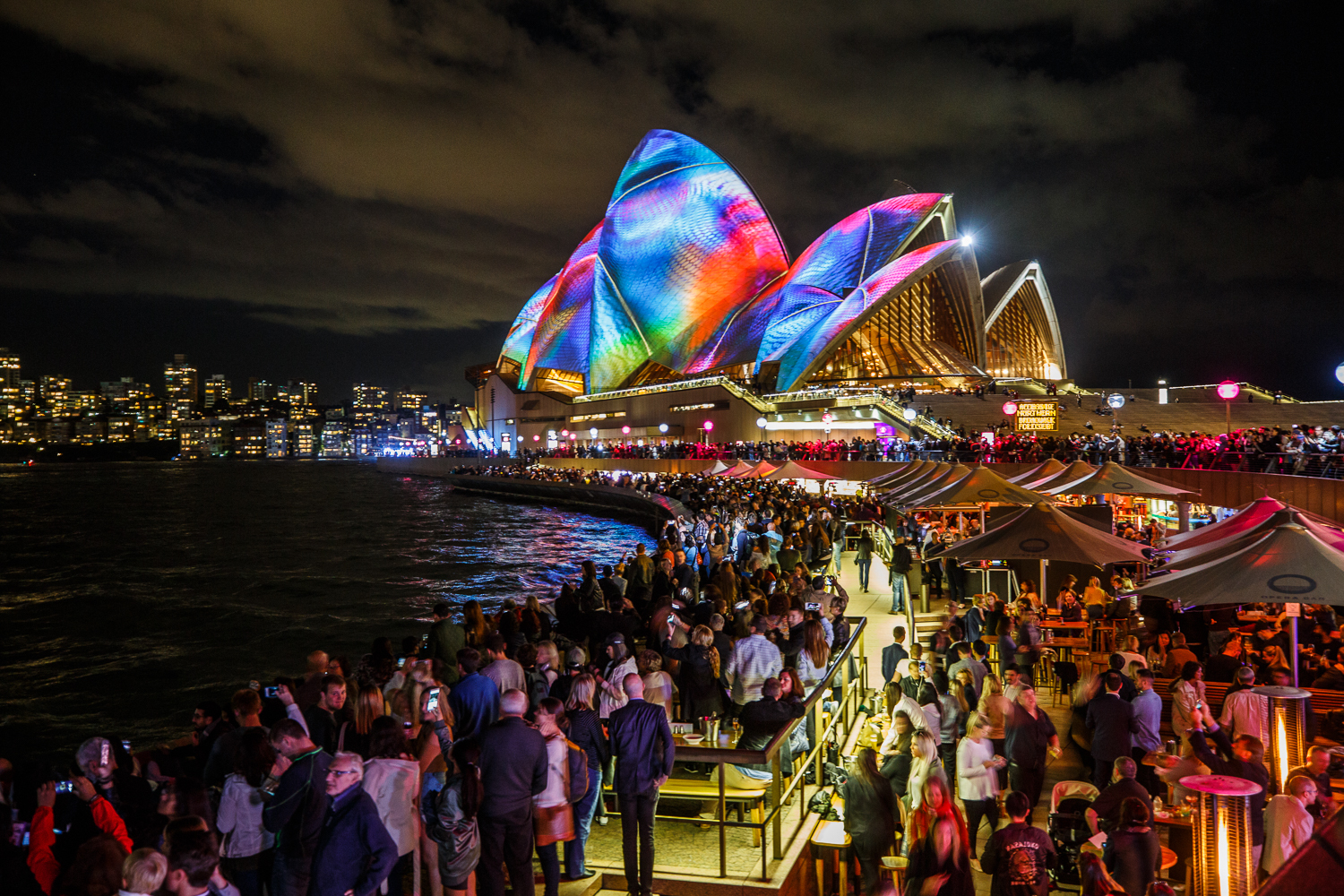 Sydney's Circular Quay comes to life with the world's largest interactive lighting display, Vivid Sydney.