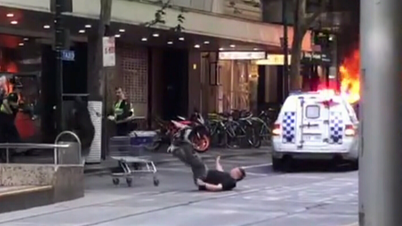 Brave passer-by pushes trolley at Bourke Street attacker