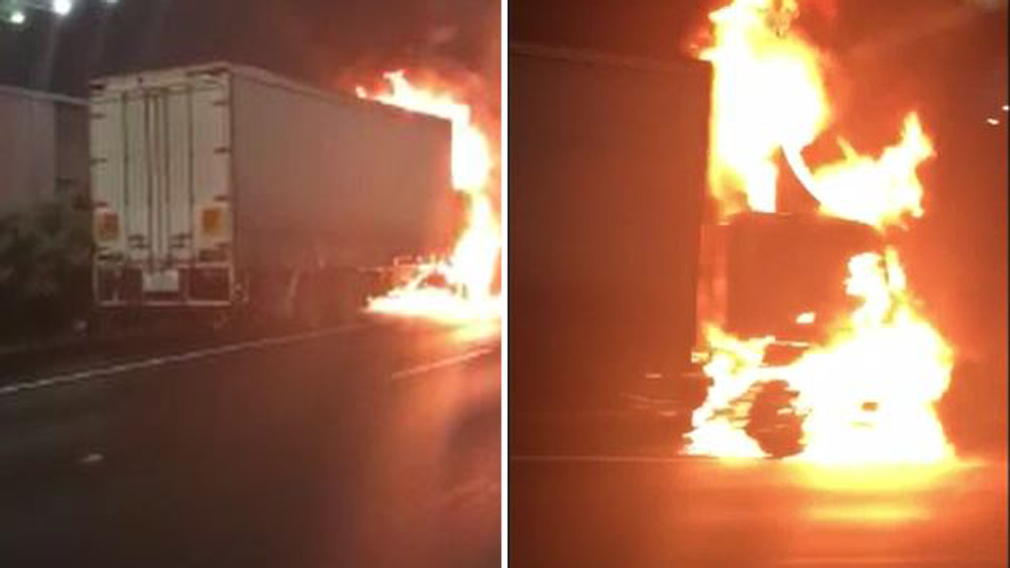 Truck engulfed in flames near Melbourne Airport