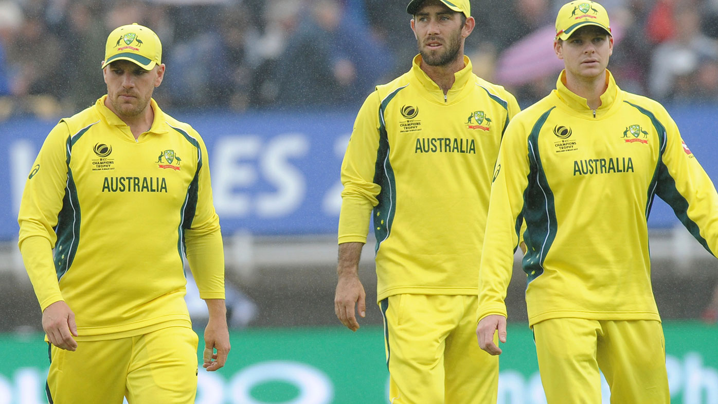 Aaron Finch (left), Glenn Maxwell and Steve Smith