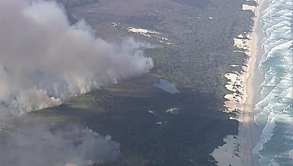 North Stradbroke Island fire could spread to nearby islands