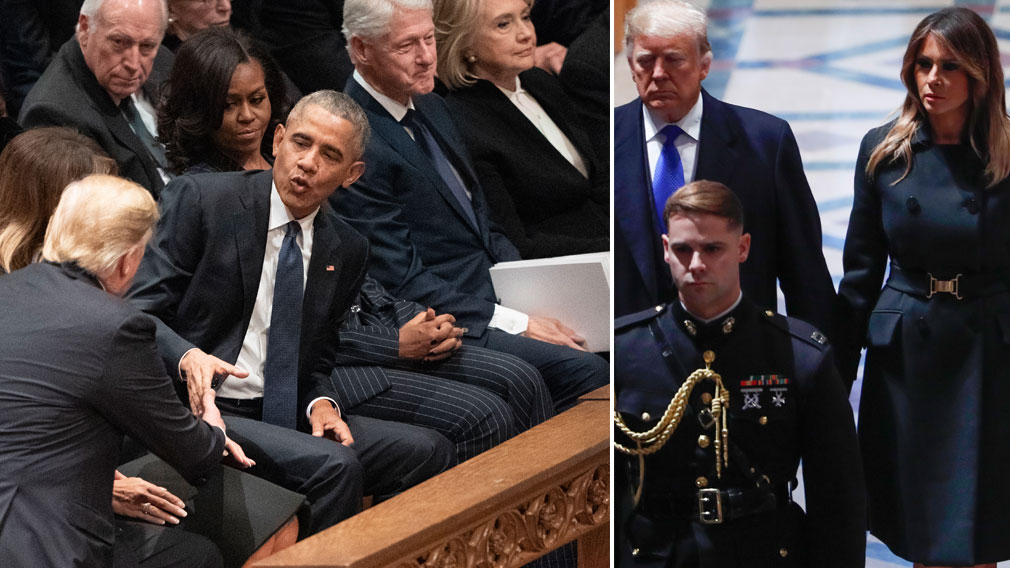 Donald Trump 'snubbed' by Clintons at Bush's funeral