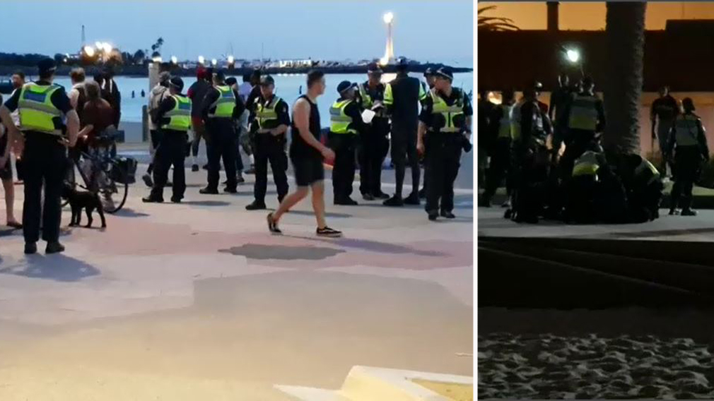 Police enforcing alcohol ban arrest 16 people in beach riot