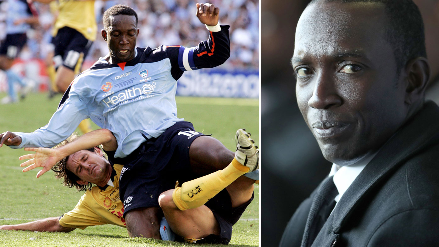 Dwight Yorke playing for Sydney FC and side profile of Dwight York.